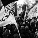"""ARKIVFOTO 2012 af Hizb-ut-Tahrir-demonstrationen på Nørrebroe mod """"de hadefulde krænkelser af profeten Muhammed""""."""