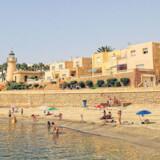 Stranden ved Roquetas de Mar, hvor BT Rejser boede.