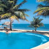 Den store pool med havudsigt på Almond Beach Belize.