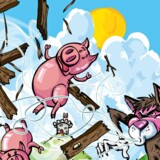 .. Cartoon of three pigs and the big bad wolf