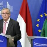 Arkivfoto: Jean-Claude Juncker og Cecilia Malmstrom i EU's hovedkvarter i Bruxelles den 21. april 21, 2016. THIERRY CHARLIER / AFP