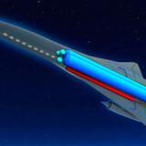 """De store fordele er hastigheden - fremtidens rejsende skal bruge 20 minutter fra London til Malaga eller en lille time fra London til USAs østkyst. Animation af """"Zero Emission Hypersonic Transportation"""""""