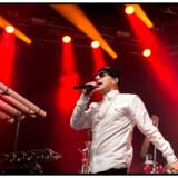 Fredagsrock 2014. Kato og Safri Duo med gæster på scenen ved Fredagsrock i Tivoli 10. maj 2014 Her med gæsteoptræden af den danske rapper TopGunn