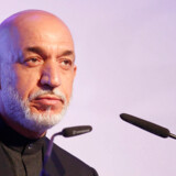 Afghanistan's President Hamid Karzai speaks during the U.S.- Islamic World Forum in Doha June 9, 2013. REUTERS/Mohammed Dabbous (QATAR - Tags: POLITICS)