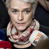 SF-formand Annette Vilhelmsen taler med journalister ved ankomsten til SF's gruppemøde onsdag d. 20 marts 2013 på Christiansborg.