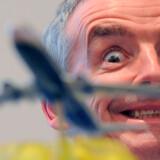 Topchefen for det irske budget luftfartsselskab Ryanair, Michael O'Leary, under en pressekonference i Madrid.
