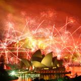 Nytårsfyrværkeriet over Sydney Harbour, Australien.