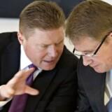 Både finansdirektør Jesper Brandgaard (til venstre) og koncernchef Lars Rebien Sørensen har sendt meget positive signaler til markedet om forventningerne til en godkendelse af to nye insuliner.
