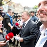 Venstres formand Lars Løkke Rasmussen på Køge Torv for at hjælpe Venstre politiker Morten Løkkegaard med valget til Europa Parlamentet.