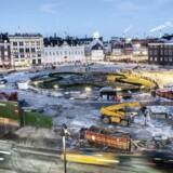 Arkivfoto: Sådan så der ud på Kongens Nytorv København i begyndelsen af februar, lige umiddelbart efter at de store grønne pladehegnblev pillet ned.