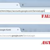 Selv om den øverste adresse ser ægte ud, er den falsk. Hængelåsen i den nederste - og ægte - adresse er grøn og viser dermed, at forbindelsen mellem computeren eller telefonen og så Googles Gmail-tjeneste er krypteret, altså kodet, så ingen andre kan lytte med på kommunikationen.