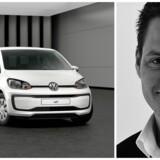 Up! bliver den første bil, som Volkswagens danske direktør, Ulrik Drejsig, sætter til salg på nettet, hvor man nu kan lægge den i indkøbskurven efter at have bestemt f.eks. motorstørrelse, farve og ekstraudstyr. Fotos. VW