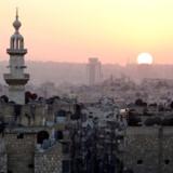 Arkivbillede af solnedgang over Aleppo i Syrien fra 5. oktober 2016.