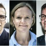 Alex Vanopslagh, Cecilia Lonning-Skovgaard og Jakob Næsager. Spidskandidaterne fra LA, Venstre og de Konservative har lang tid at løbe på inden næste valg. Men de har også brug for den, hvis de skal sikre sig et bedre valg end i 2013.