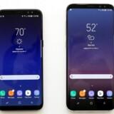Samsungs nye toptelefoner, Galaxy S8 (til venstre) og S8+ (til højre), skal genskabe tilliden til Samsung oven på batteriskandalen og er samtidig det fremmeste våben i kampen mod Apple. Foto: Brendan McDermid, Reuters/Scanpix