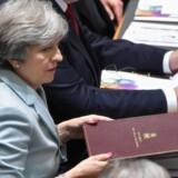 Den britiske premierminister, Theresa May, presser endnu engang på for at komme videre med forhandlingerne om den britiske exit. Hun vil i gang med at tale om fremtidens forhold. Scanpix/John Thys