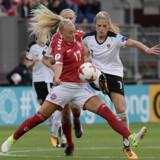 Line S. Jensen kommer ikke til at sætte flere tacklinger ind for Danmark ved dette EM. Reuters/Reuters/arkiv