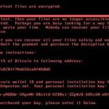 »Ups, alle dine filer er krypteret!« Sådan ser advarslen ud, der rammer computere, som den nye hærgende computervirus Goldeneye har indtaget. Foto: Symantec