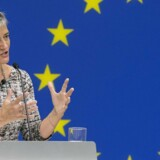 epa05547948 EU Commissioner for Competition Margrethe Vestager speaks at a news conference in which she addressed the Apple tax case and accusations that US companies have been targeted, at the Delegation of the European Union (EU) to the United States, in Washington, DC, USA, 19 September 2016. Vestager discussed the Apple tax case and accusations that she has targeted US companies. On 30 August 2016, Vestager announced Ireland gave illegal tax benefits to Apple worth up to 13 billion euros. EPA/MICHAEL REYNOLDS