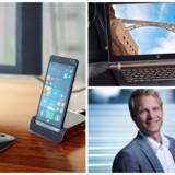 Elite-smartphonen, der kan sluttes til eksterne tastatur og skærm, og Spectre-serien af topbærbare er eksempler på det nye HPs satsninger, og de er sket på rekordtid, hvilket glæder Thomas Persson, der er administrerende direktør for HP i Danmark. »Vi har fået helt ny fart på - og det havde vi også brug for,« siger han et år efter den store opsplitning. Fotos: HP