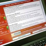 Computervirusen Wannacry krypterer vigtige filer på ens computer. Det har ramt hundredtusinder verden over. Arkivfoto: Ritchie B. Tongo, EPA/Scanpix