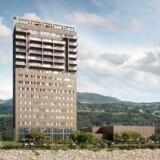 Mjøstårnet i Ringsaker i Norge bliver 81 meter højt og dermed så langt verdens højeste bygning af træ. Tårnet er den højeste del af et større kompleks af træbygninger, der vil indeholde boliger, hotel, kontorer og restaurant. Første del ventes at stå klar i 2018,Konceptuelt billede: Voll Arkitekter