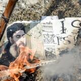 Indiske shiamuslimer brænder et billede af IS-leder Abu Bakr al-Baghdadi under en demonstration i New Delhi i juni 2017.
