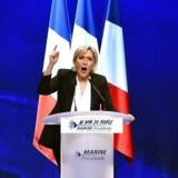 Marine Le Pen høstede bifald for sine trusler under weekendens valgmøde i Nantes, men dommere og politifolks faglige organisationer var knap så begejstrede. / AFP PHOTO / JEAN-FRANCOIS MONIER