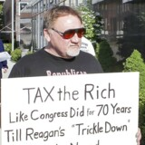 BMINTERN - This 2012 file photo shows James Hodgkinson of Belleville protesting outside the United States Post Office in Downtown Belleville, Ill. (Photo by Derik Holtmann/Belleville News-Democrat/TNS) *** Please Use Credit from Credit Field ***