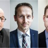Finansminister Kristian Jensen (i midten) skal lede boligforhandlingerne onsdag og forsøge at finde et kompromis mellem især de Konservatives og DFs ønsker.