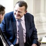 Finansminister Kristian Jensen (V) og statsminister Lars Løkke Rasmussen (V) under dagens møde i Landstingssalen på Christiansborg i København torsdag den 7. september 2017 hvor første behandling af finansloven for 2018 er på dagsordenen. Regeringens forslag til en finanslov for 2018 blev fremlagt 31. august.