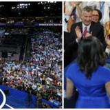 USAs førstedame, Michelle Obama, og partiets tidligere præsidentkandidat Bernie Sanders tog det demokratiske konvent i Philadelphia med storm. Foto: JUSTIN LANE/EPA