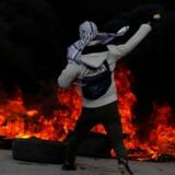 En palæstinensisk demonstrant i partisaner tørklæde kaster med sten mod israelske IDF-tropper, i et sammenstød mellem israelere og palæstinensere nær bosættelse Beit El i nærheden af Ramallah på Vestbredden. Demonstrationerne sker i kølvandet på USAs præsident Donald Trumps beslutning om at flytte den amerikanske ambassade fra Tel Aviv til Jerusalem. Beslutningen vækker jubel hos israelerne og skuffet vrede hos palæstinenserne.