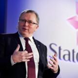 Statoils administrerende direktør, Eldar Sætre, på talerstolen ved en tidligere lejlighed. Foto: Niklas Hallen/AFP