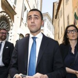 Five-Star Movement leader Luigi Di Maio leaves the Italian parliament in Rome Friday, May 25, 2018. Italy's premier-designate Giuseppe Conte is finalizing his proposed cabinet list as European leaders begin weighing in on the EU's future with decidedly euroskeptic and populist Italy in its ranks. (Angelo Carconi/ANSA via AP)