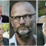 Fem af hovedpersonerne i sagen: Kim Henningsen (øverst tv.), Kasper Kopping (nederst tv.), Henrik Qvortrup (i midten), Ken B. Rasmussen (øverst th.) og Per Ingdal (nederst th.).
