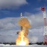 Missiltest i det nordvestlige Rusland fredag 30. marts 2018.