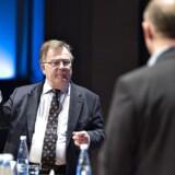 Claus Hjort Frederiksen og KL-formand Martin Damm under Kommunaløkonomisk Forum i Aalborg Kongres og Kulturcenter.