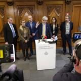 Uddannelsesminister Søren Pind (V) fremlægger ny aftale om det udskældte uddannelsesloft, som er indgået mellem regeringen, Socialdemokratiet og Dansk Folkeparti, på et pressemøde i Uddannelses- og Forskningsministeriet.