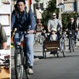 Lars Engstrøm, stifter af Christiania Bikes, til venstre på sit kontor på Bornholm i dag. Til højre ses den berømte ladcykel, i brug, på Dronning Louises Bro i København.