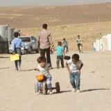 Flygtninge børn fra Mosul leger i en flygtningelejr i Duhok, Irak.
