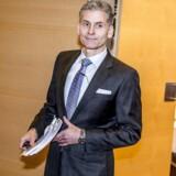 Thomas F. Borgen, direktør i Danske Bank præsenterer bankens årsregnskab på et pressemøde i København fredag den 2. februar 2018.