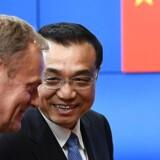 Kinas premierminister Li Keqiang ankom torsdag til Bruxelles.