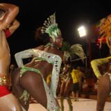 Dansere fra sambaskolen Sao Clemente fra Rio de Janeiro deltager i et karneval i byen Encarncion 375 km syd for Asuncion i Paraguay 18. januar 2013, inden skolen skal deltage i karnevallet i Rio de Janeiro.