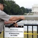 """Parkbetjente lukker ned på grund af """"Shutdown""""."""