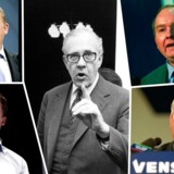 Venstres seneste seks formænd: Lars Løkke Rasmussen, Anders Fogh Rasmussen, Uffe Ellemann-Jensen, Henning Christophersen og Poul Hartling.