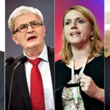 Fra venstre: Dan Jørgensen (S) bliver nye fødevareminister, Holger K. Nielsen (SF) bliver udenrigsminister, Karen Hækkerup (S) bliver justitsminister og Jonas Dahl (SF) bliver skatteminister.