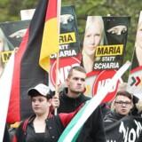 Støtter af det højreekstremistiske parti NPD demonstrerer i Leipzig i november 2013. De tyske delstater vil forbyde NPD.Foto: EPA/SEBASTIAN WILLNOW