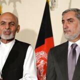 De to præsidentkandidater Ashraf Ghani (til venstre) og Abdullah Abdullah side om side.