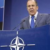 Den russiske udenrigsminister, Sergei Lavrov, var tydeligt irriteret over sine kolleger, da han deltog i NATOs udenrigsministermøde. Foto: Virginia Mayo/Reuters